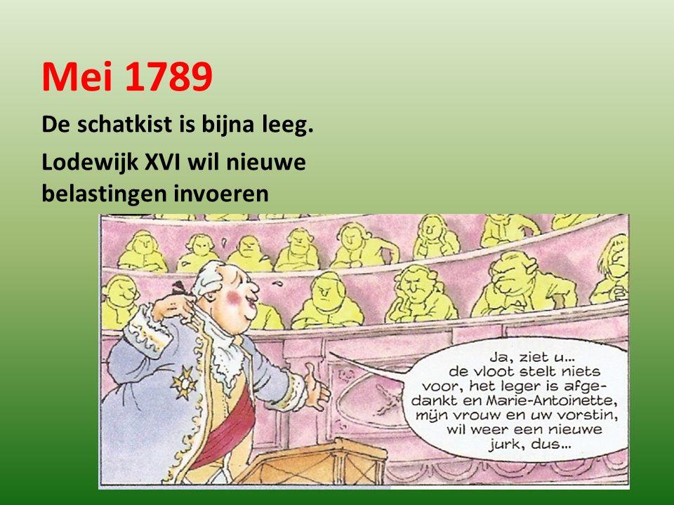 Mei 1789 De schatkist is bijna leeg.