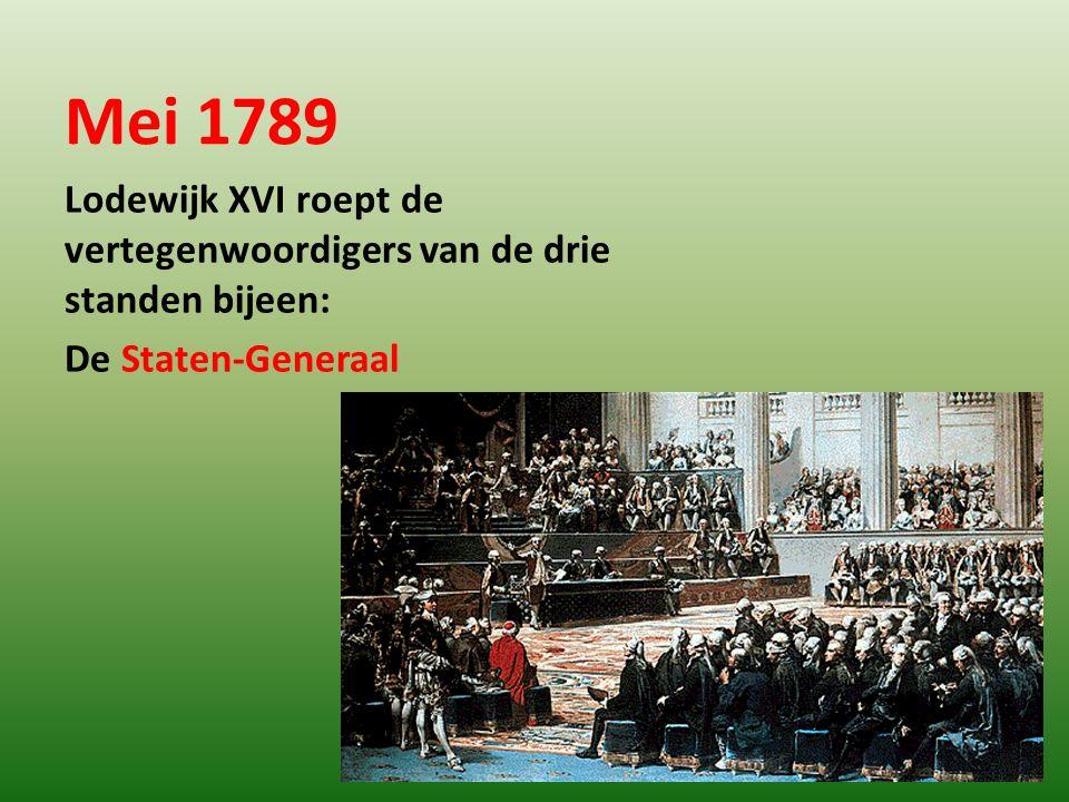 Mei 1789 Lodewijk XVI roept de vertegenwoordigers van de drie standen bijeen: De Staten-Generaal