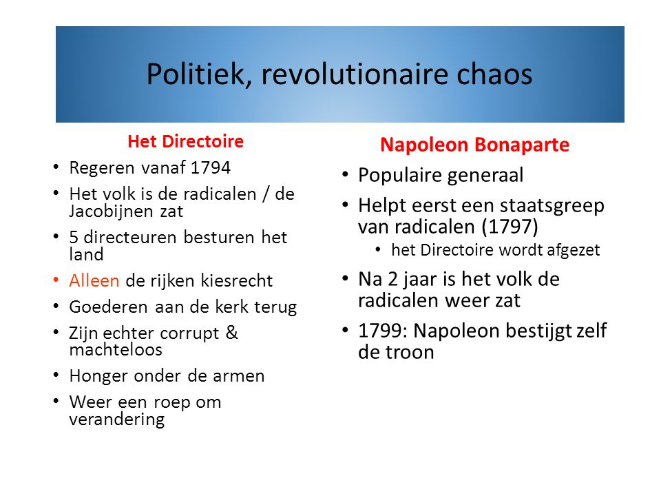 Politiek, revolutionaire chaos