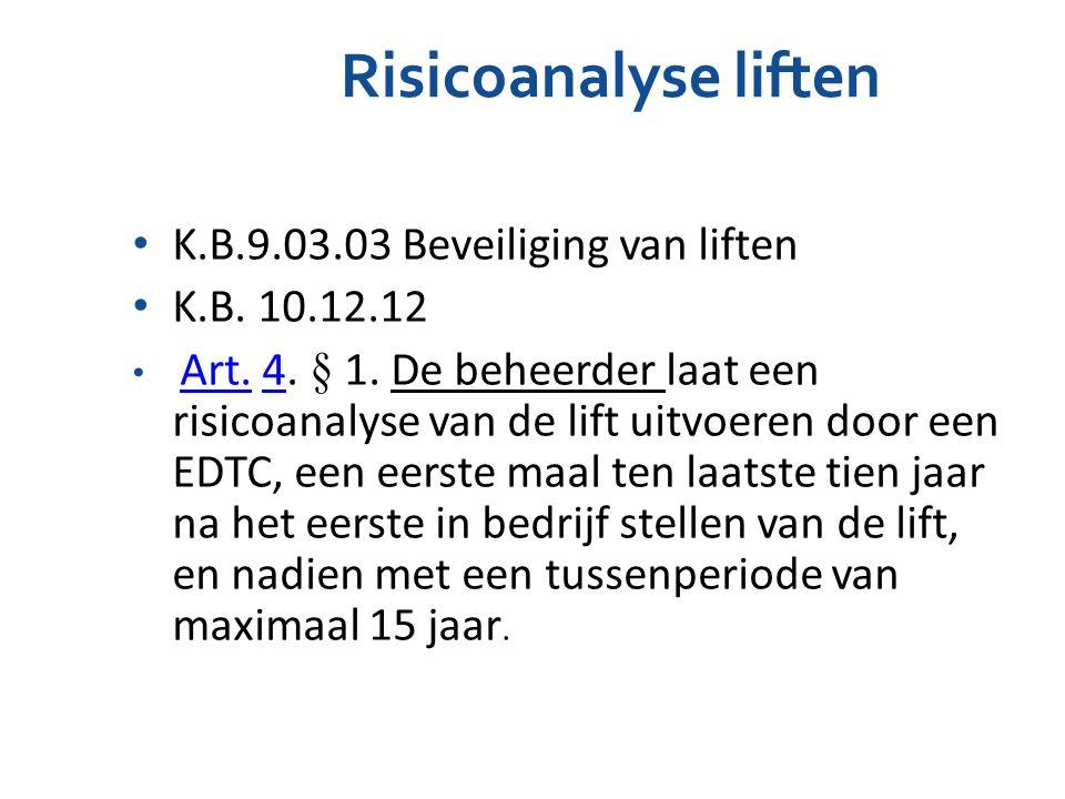 Risicoanalyse liften K.B.9.03.03 Beveiliging van liften K.B. 10.12.12