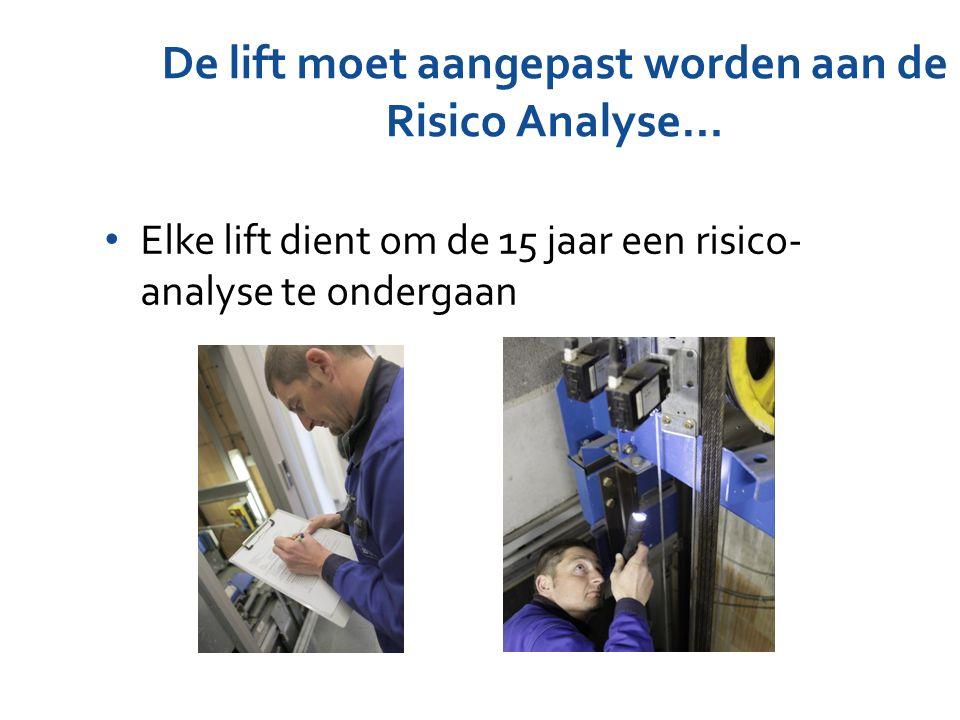 De lift moet aangepast worden aan de Risico Analyse…