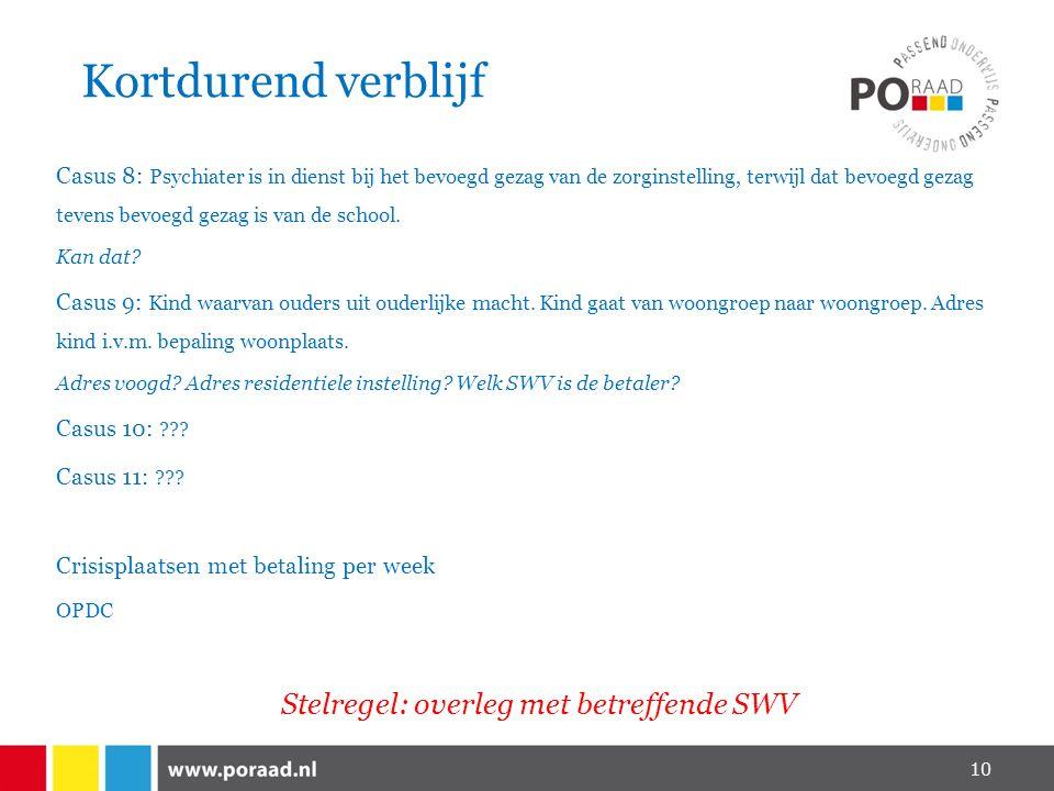 Stelregel: overleg met betreffende SWV