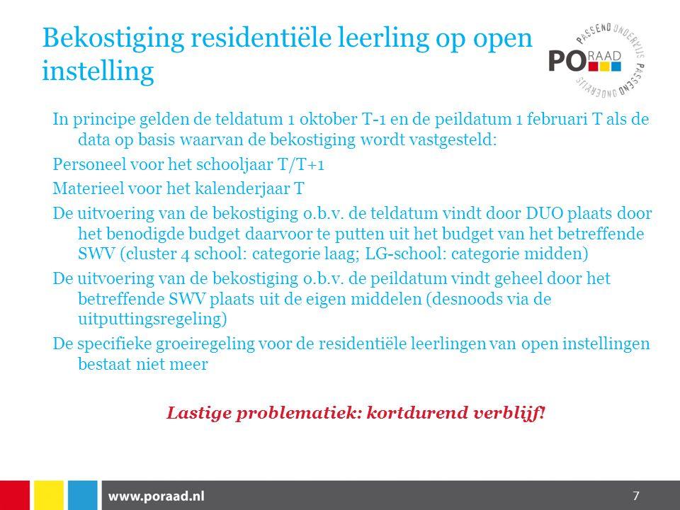 Bekostiging residentiële leerling op open instelling