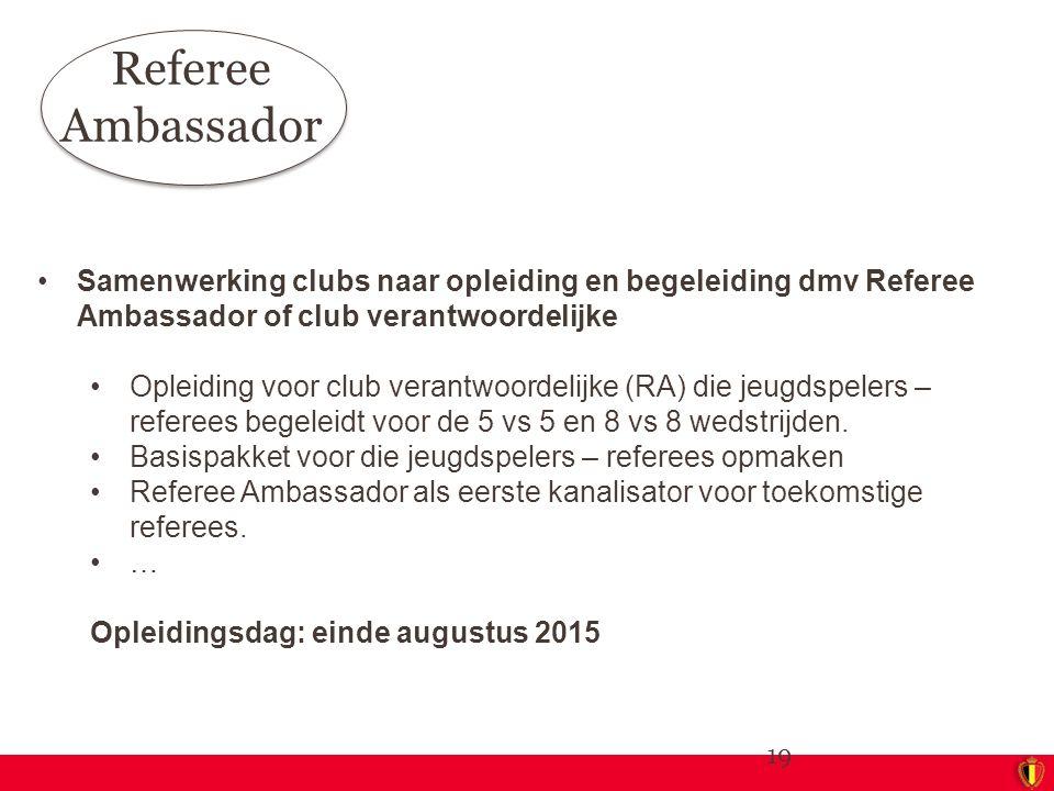 Referee Ambassador Samenwerking clubs naar opleiding en begeleiding dmv Referee Ambassador of club verantwoordelijke.