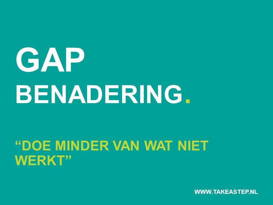 GAP BENADERING. DOE MINDER VAN WAT NIET WERKT WWW.TAKEASTEP.NL