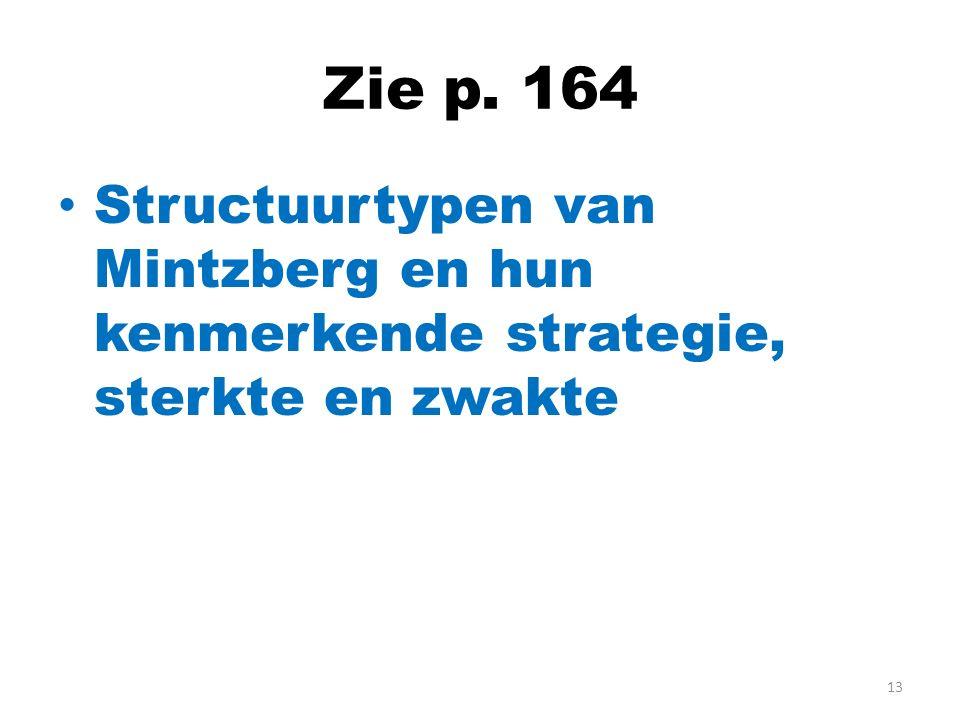 Zie p. 164 Structuurtypen van Mintzberg en hun kenmerkende strategie, sterkte en zwakte