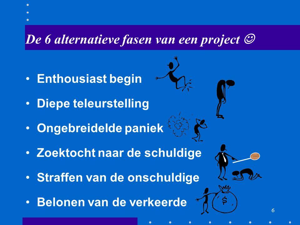 De 6 alternatieve fasen van een project 