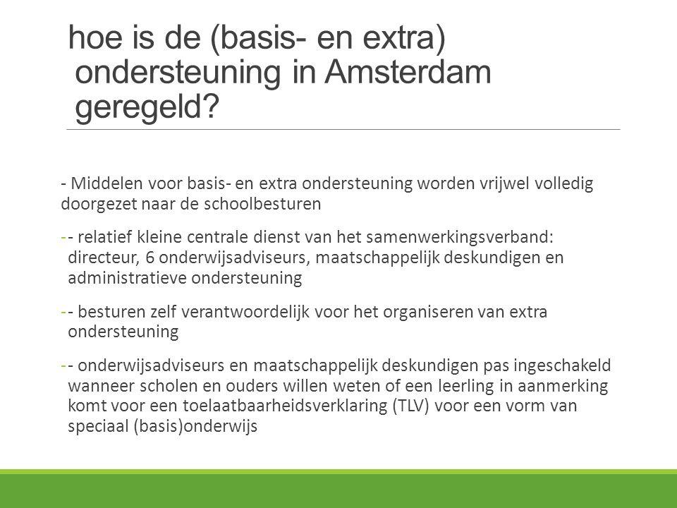 hoe is de (basis- en extra) ondersteuning in Amsterdam geregeld
