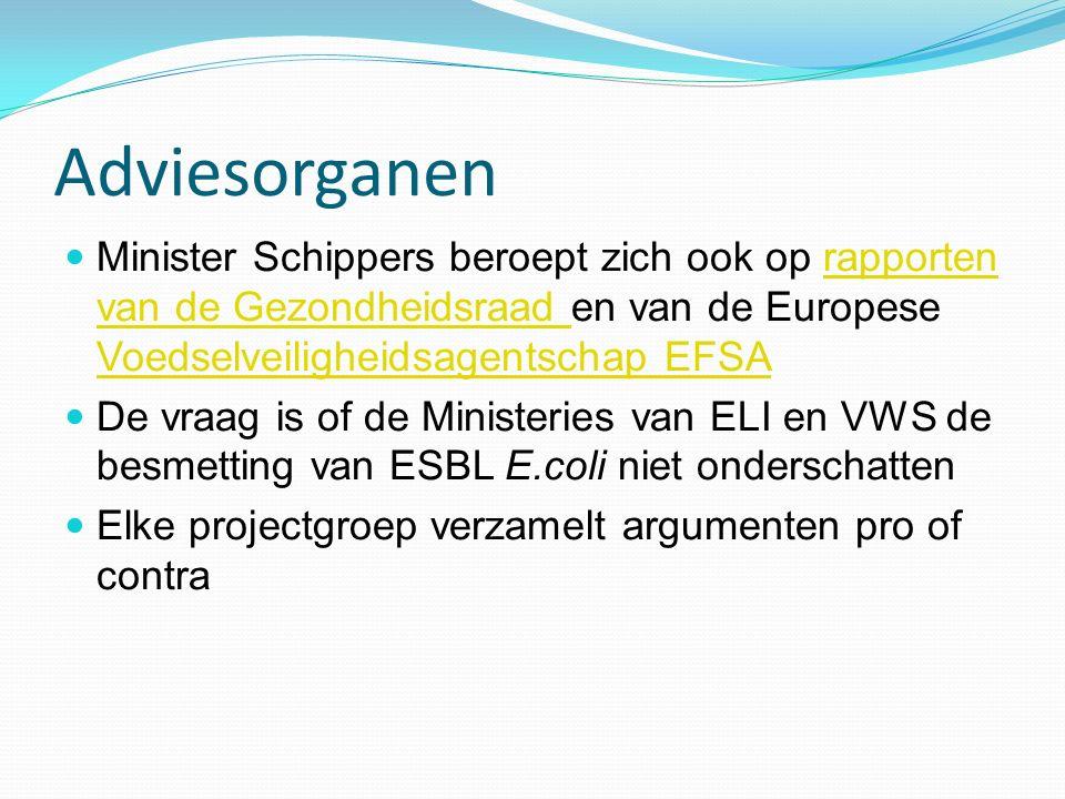 Adviesorganen Minister Schippers beroept zich ook op rapporten van de Gezondheidsraad en van de Europese Voedselveiligheidsagentschap EFSA.