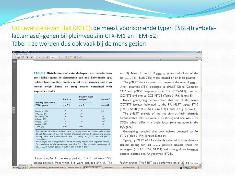 Uit Leverstein-van Hall (2011): de meest voorkomende typen ESBL-(bla=beta-lactamase)-genen bij pluimvee zijn CTX-M1 en TEM-52; Tabel I: ze worden dus ook vaak bij de mens gezien