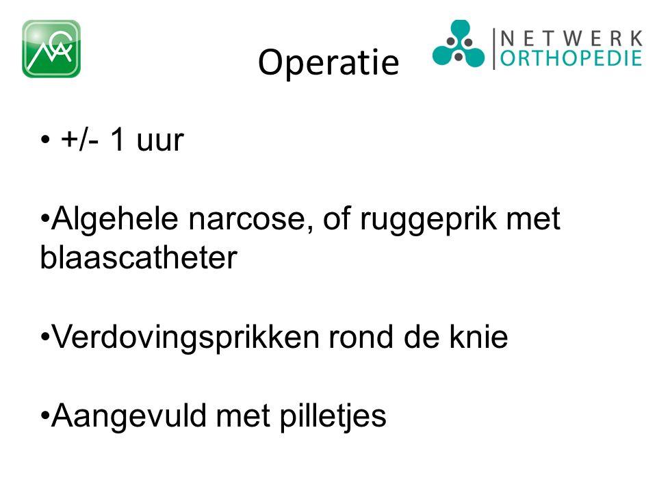 Operatie +/- 1 uur Algehele narcose, of ruggeprik met blaascatheter