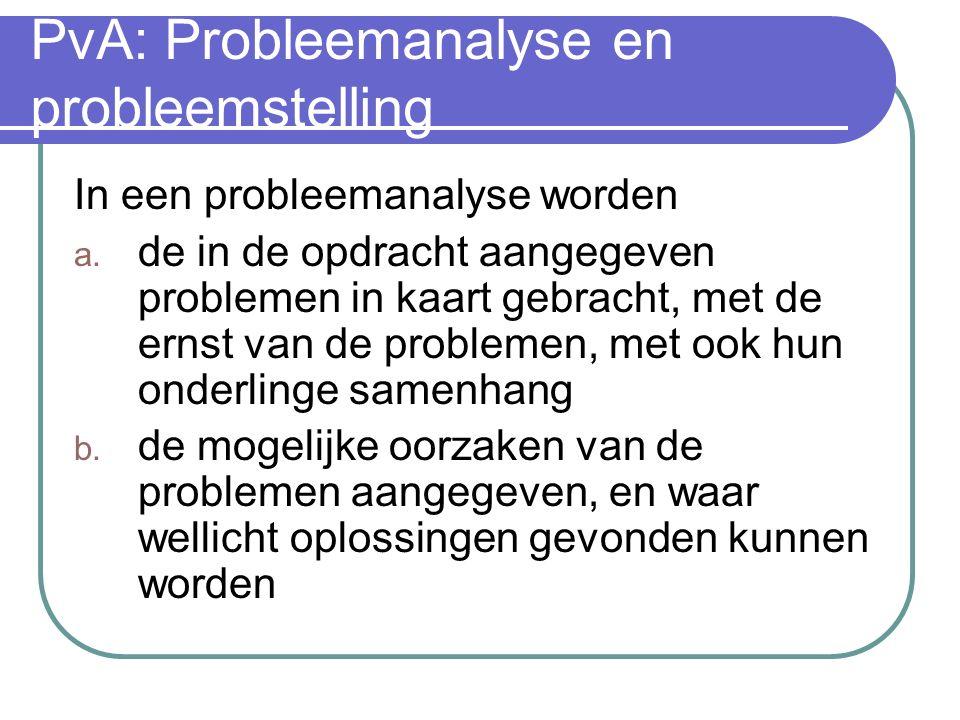 PvA: Probleemanalyse en probleemstelling