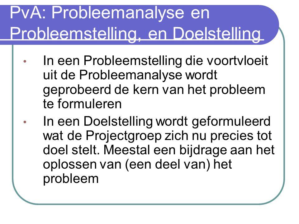 PvA: Probleemanalyse en Probleemstelling, en Doelstelling