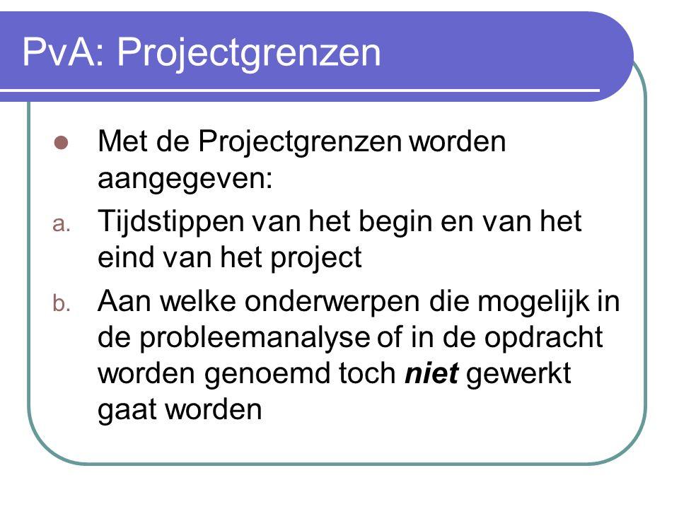 PvA: Projectgrenzen Met de Projectgrenzen worden aangegeven: