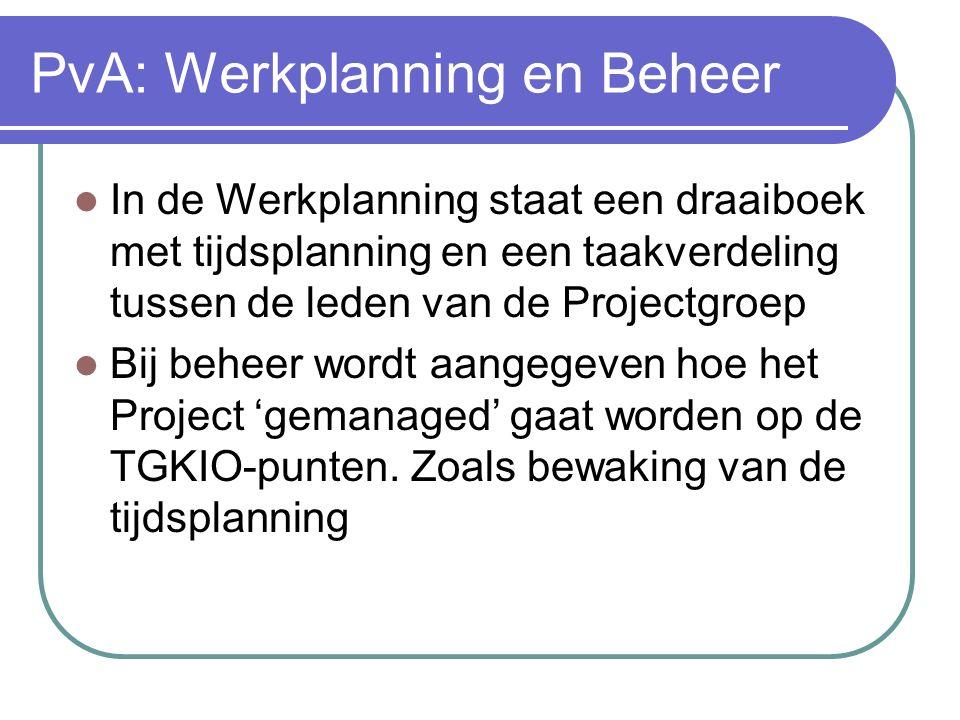 PvA: Werkplanning en Beheer