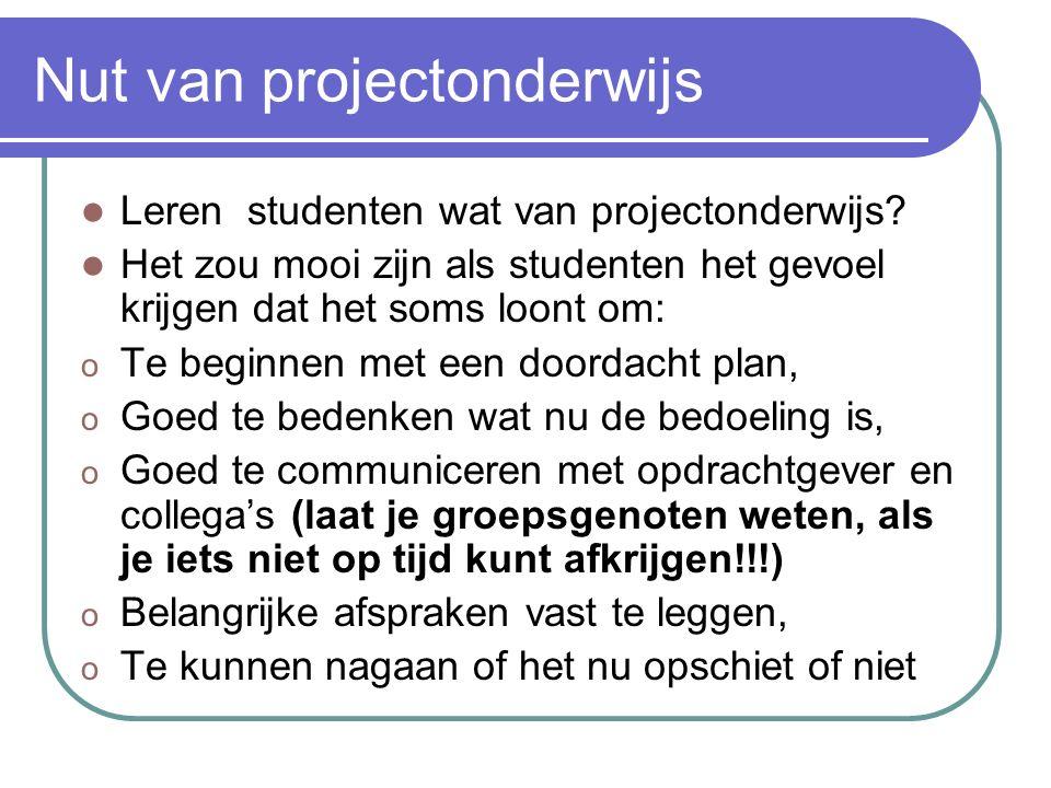 Nut van projectonderwijs