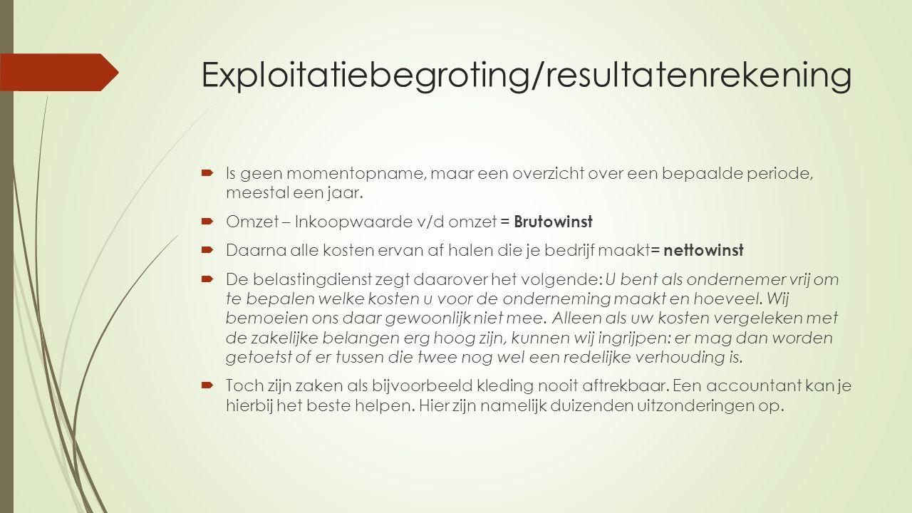 Exploitatiebegroting/resultatenrekening