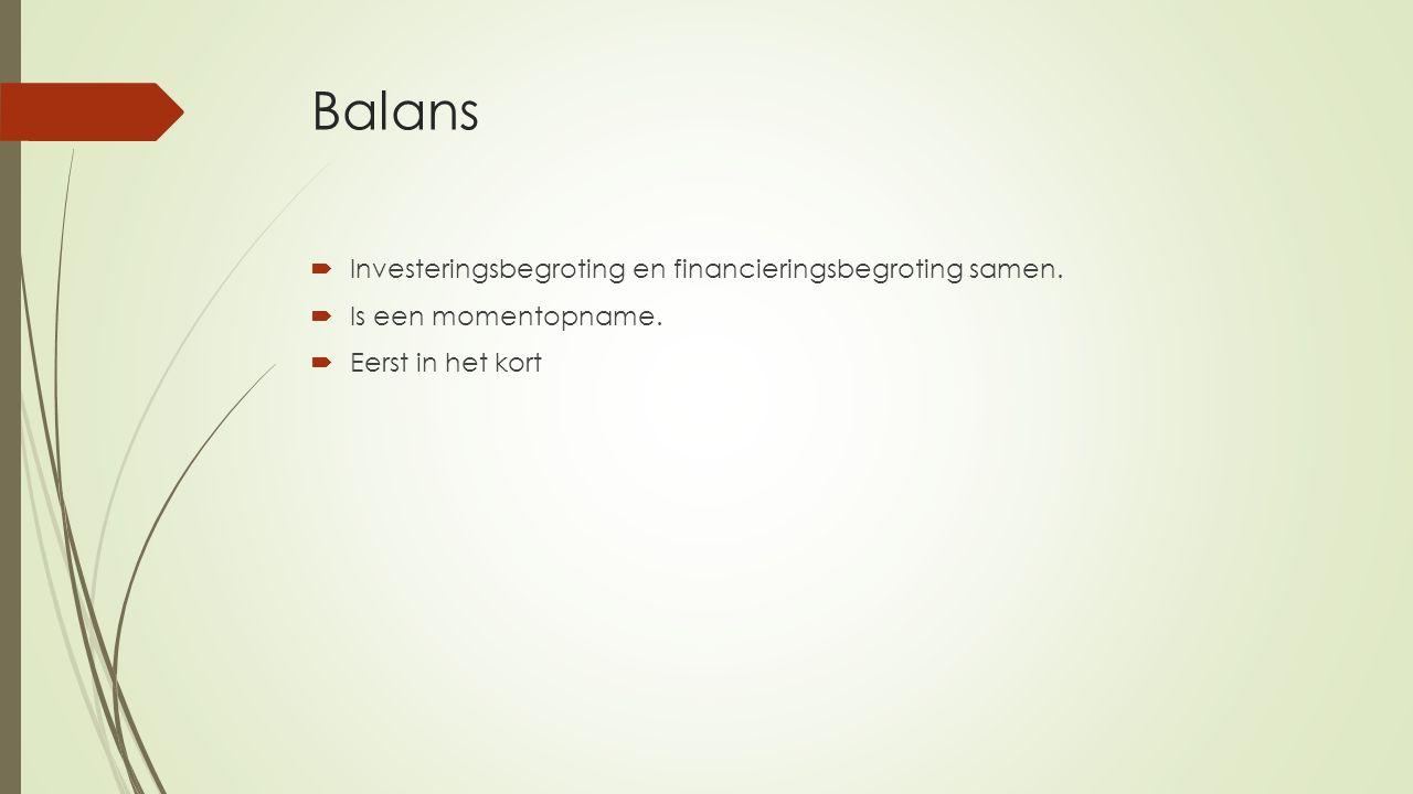 Balans Investeringsbegroting en financieringsbegroting samen.