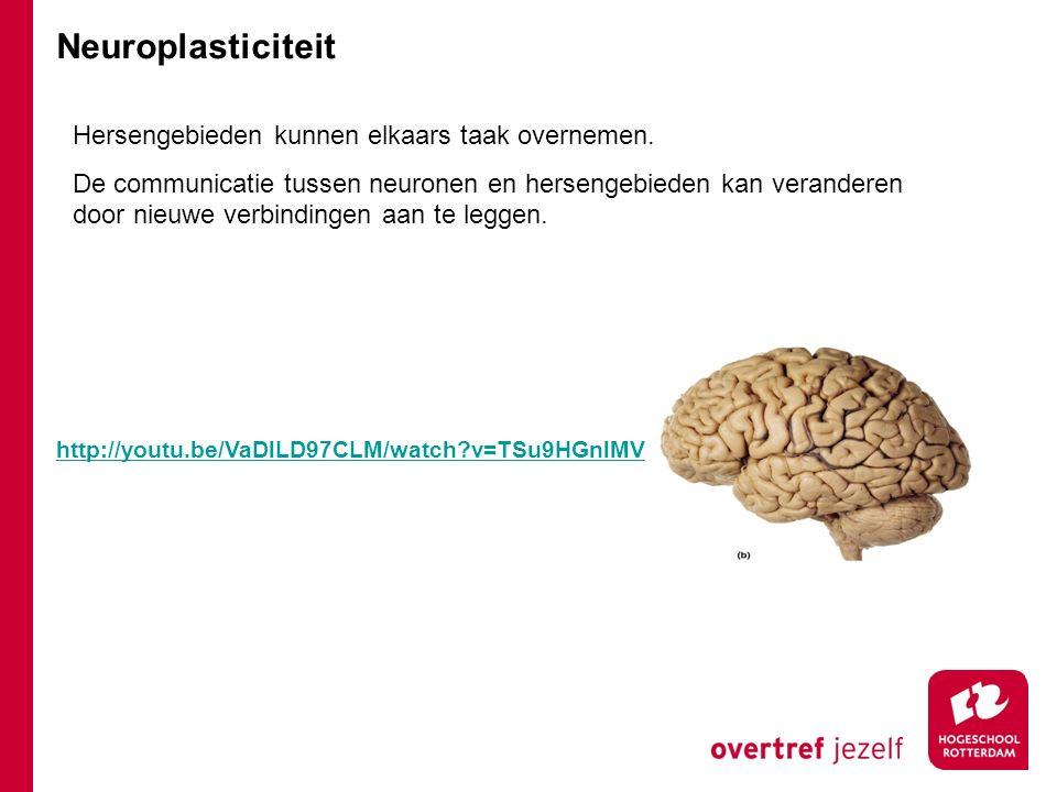 Neuroplasticiteit Hersengebieden kunnen elkaars taak overnemen.