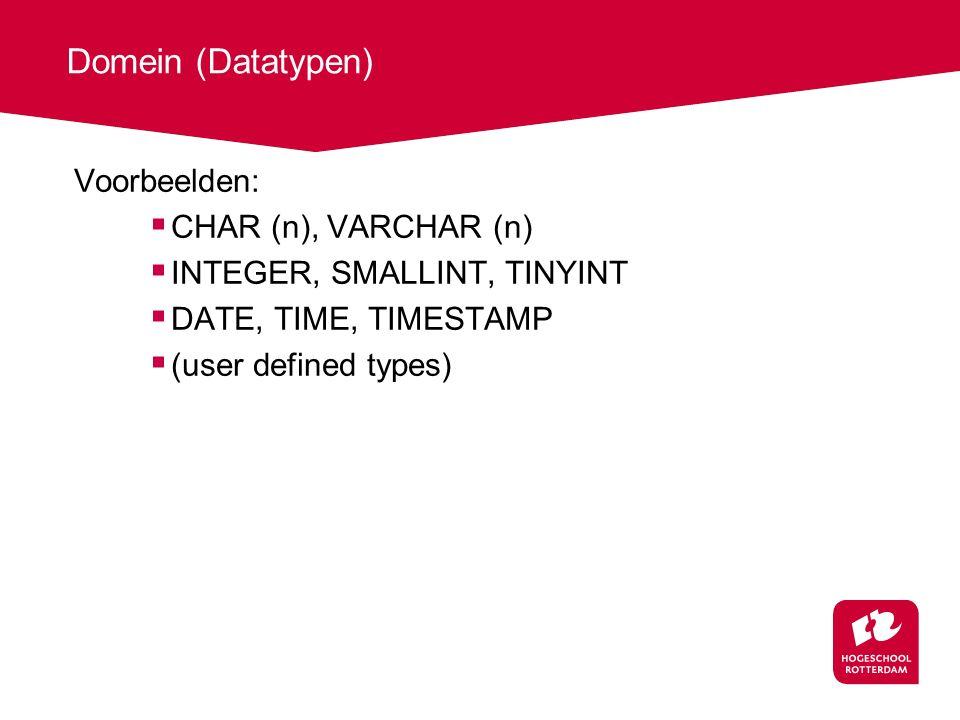 Domein (Datatypen) Voorbeelden: CHAR (n), VARCHAR (n)
