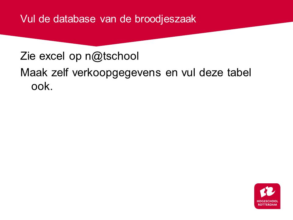 Vul de database van de broodjeszaak