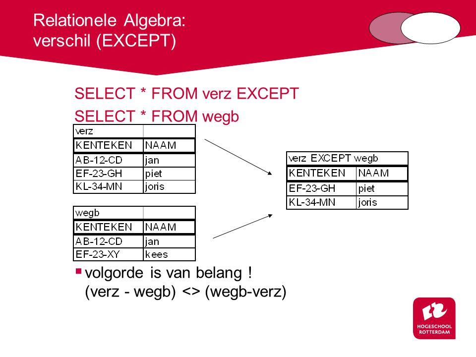 Relationele Algebra: verschil (EXCEPT)