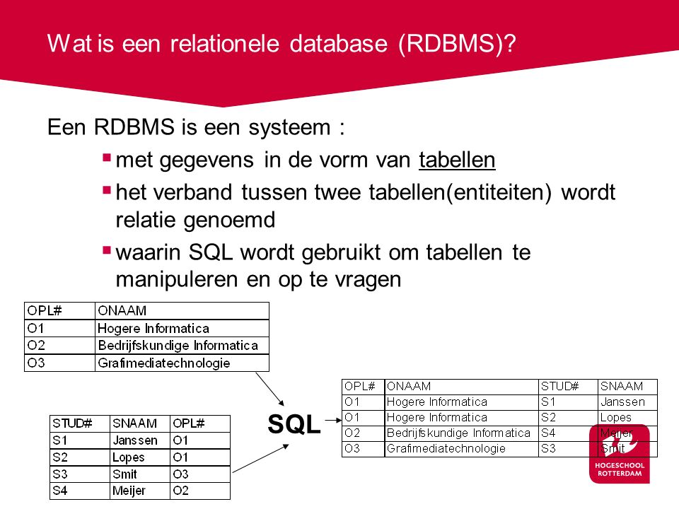 Wat is een relationele database (RDBMS)