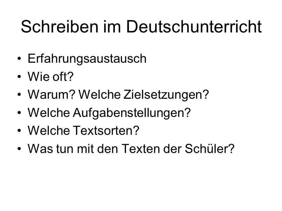 Schreiben im Deutschunterricht