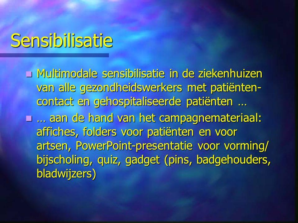 Sensibilisatie Multimodale sensibilisatie in de ziekenhuizen van alle gezondheidswerkers met patiënten-contact en gehospitaliseerde patiënten …