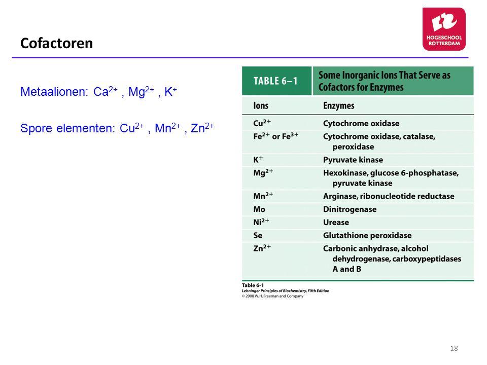 Cofactoren Metaalionen: Ca2+ , Mg2+ , K+