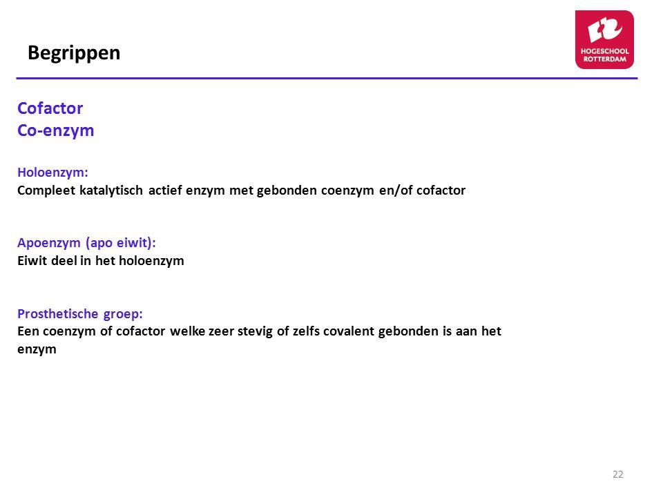 Begrippen Cofactor Co-enzym Holoenzym: