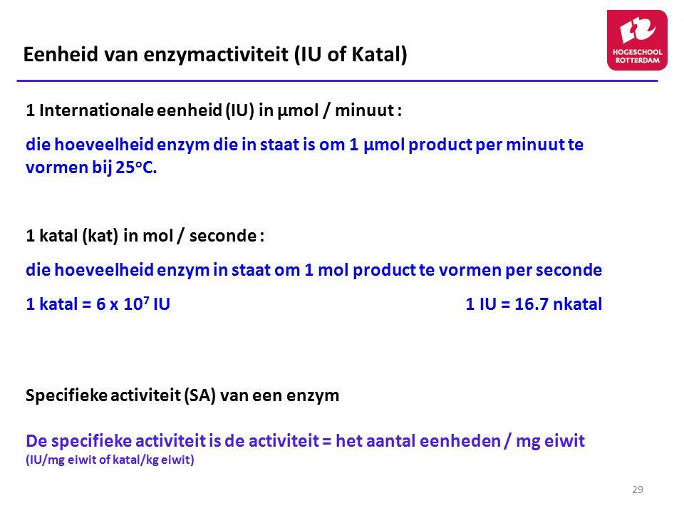 Eenheid van enzymactiviteit (IU of Katal)
