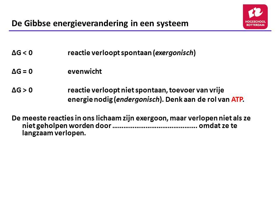 De Gibbse energieverandering in een systeem