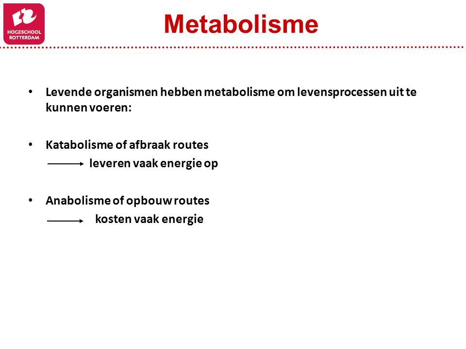 Metabolisme Levende organismen hebben metabolisme om levensprocessen uit te kunnen voeren: Katabolisme of afbraak routes.