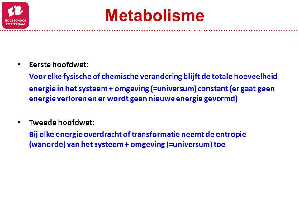 Metabolisme Eerste hoofdwet: