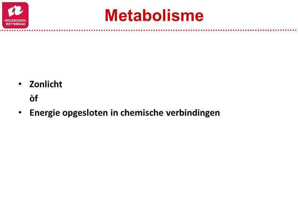 Metabolisme Zonlicht òf Energie opgesloten in chemische verbindingen