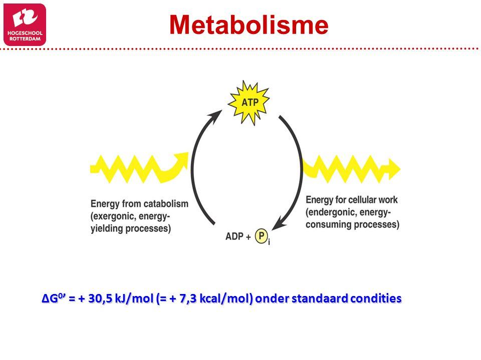 Metabolisme ΔG0' = + 30,5 kJ/mol (= + 7,3 kcal/mol) onder standaard condities