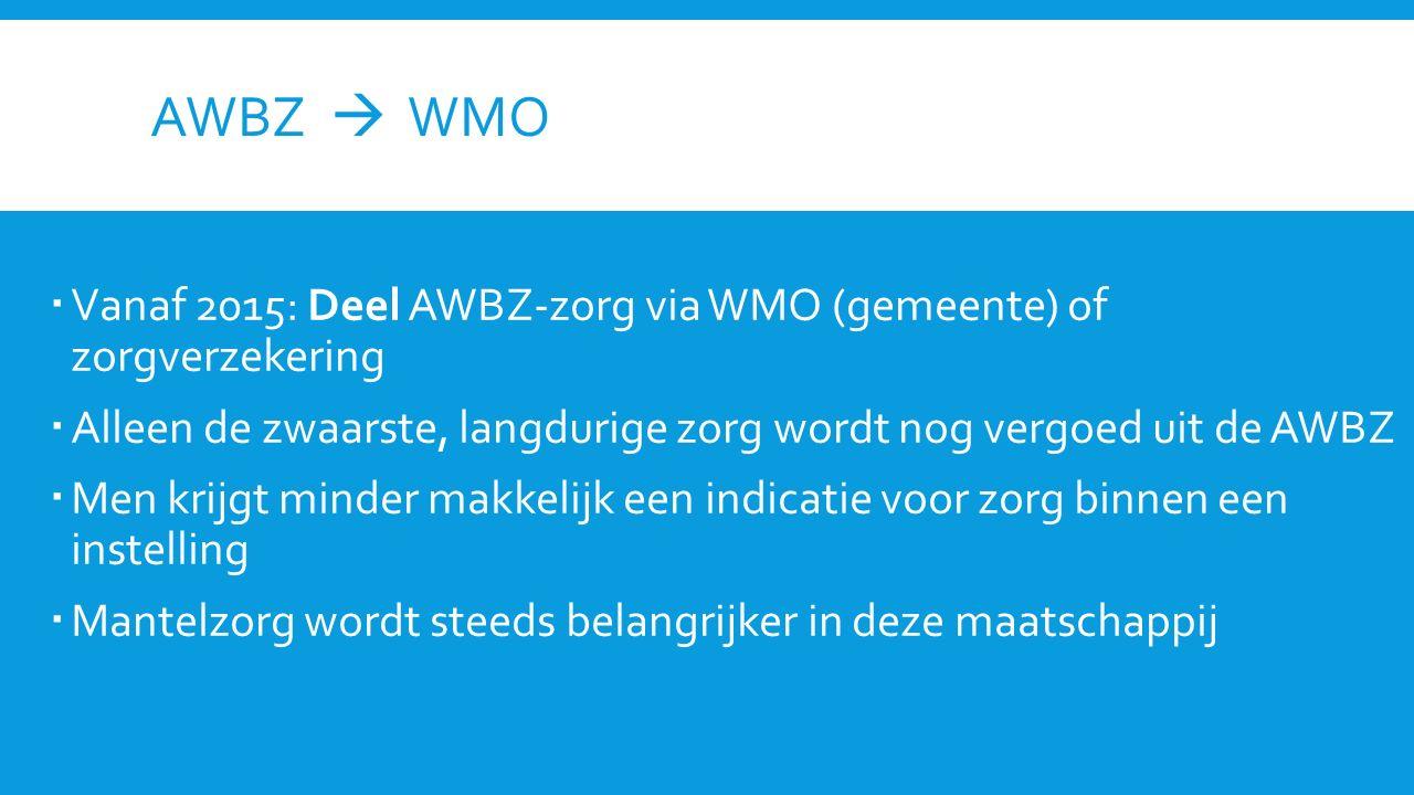 AWBZ  WMO Vanaf 2015: Deel AWBZ-zorg via WMO (gemeente) of zorgverzekering. Alleen de zwaarste, langdurige zorg wordt nog vergoed uit de AWBZ.