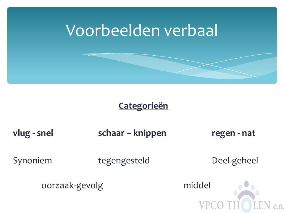 Voorbeelden verbaal Categorieën vlug - snel schaar – knippen regen - nat Synoniem tegengesteld Deel-geheel oorzaak-gevolg middel