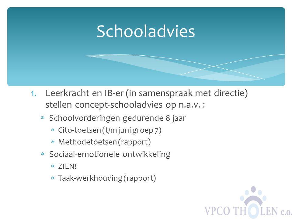 Schooladvies Leerkracht en IB-er (in samenspraak met directie) stellen concept-schooladvies op n.a.v. :