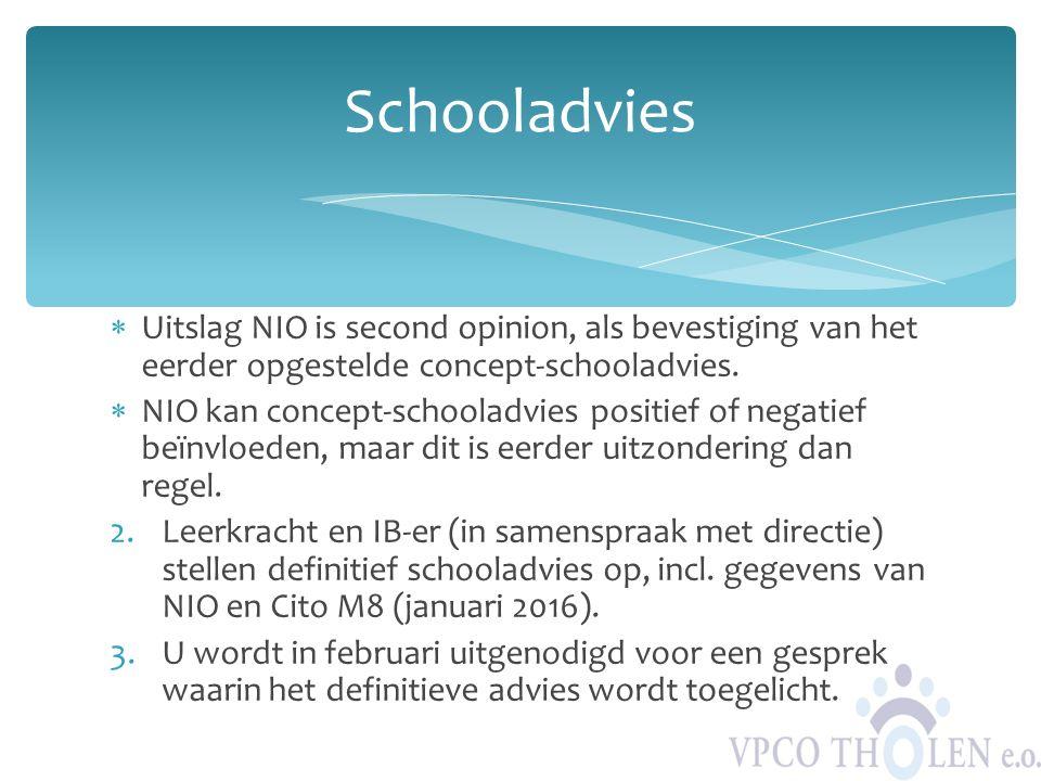 Schooladvies Uitslag NIO is second opinion, als bevestiging van het eerder opgestelde concept-schooladvies.