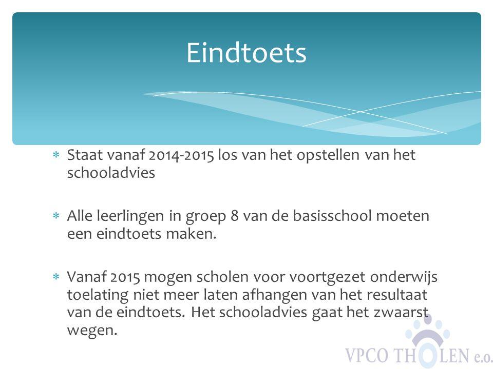 Eindtoets Staat vanaf 2014-2015 los van het opstellen van het schooladvies.