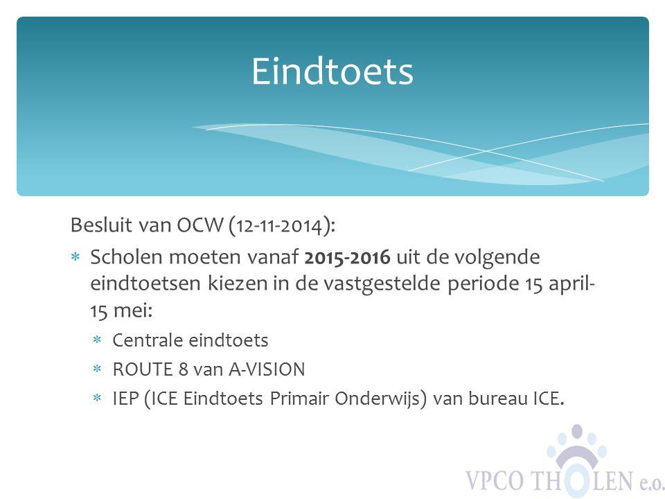 Eindtoets Besluit van OCW (12-11-2014):