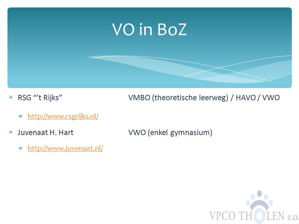 VO in BoZ RSG 't Rijks VMBO (theoretische leerweg) / HAVO / VWO