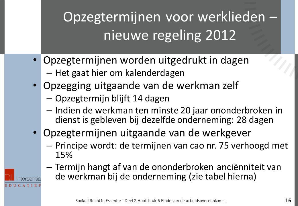 Opzegtermijnen voor werklieden – nieuwe regeling 2012