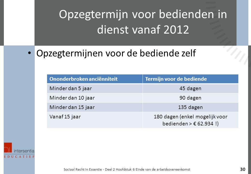 Opzegtermijn voor bedienden in dienst vanaf 2012