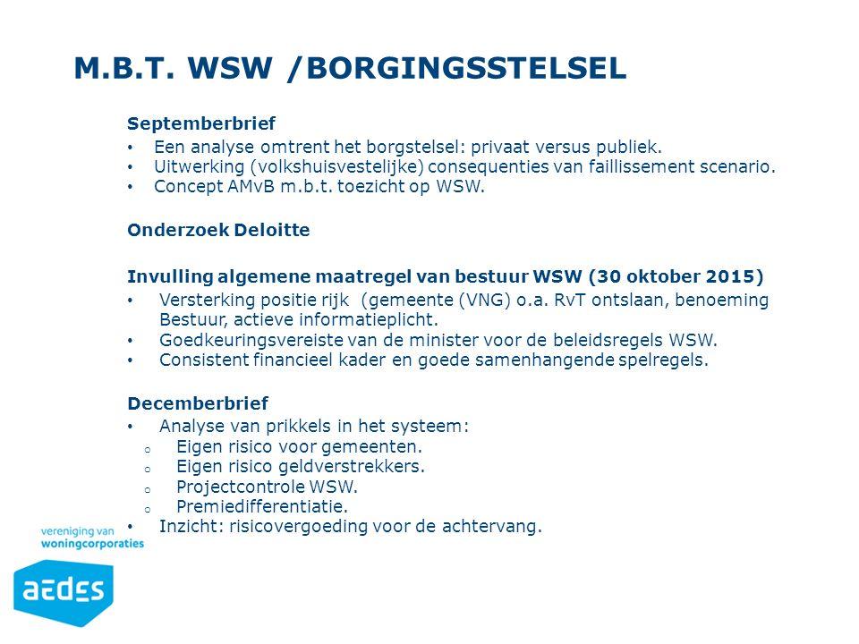 M.b.t. WSW /borgingsstelsel