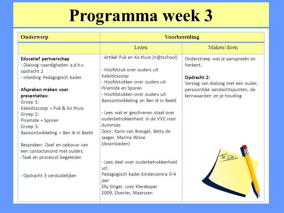 Programma week 3 Onderwerp Voorbereiding Lezen Maken/ doen