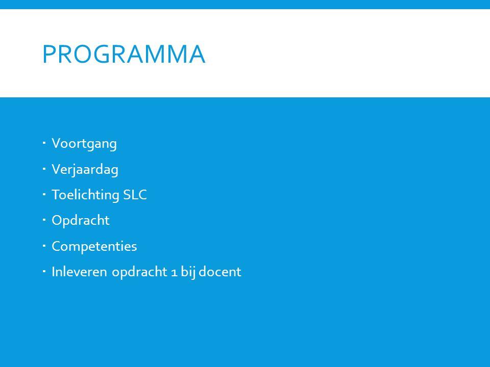 Programma Voortgang Verjaardag Toelichting SLC Opdracht Competenties