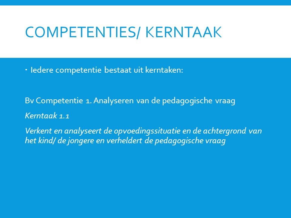Competenties/ kerntaak